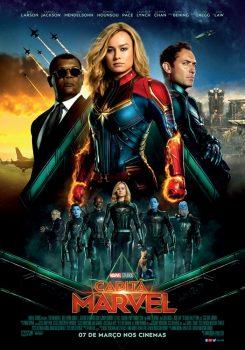 """Cartaz do filme """"Capitã Marvel"""" (2019), com Brie Larson, Samuel L. Jackson e Jude Law"""
